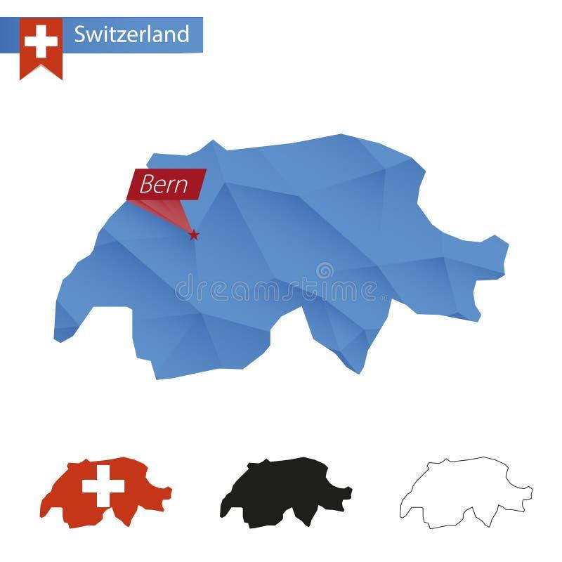 Mappa bassa blu della Svizzera poli con capitale Berna illustrazione di stock