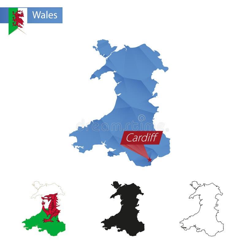Mappa bassa blu di Galles poli con capitale Cardiff royalty illustrazione gratis