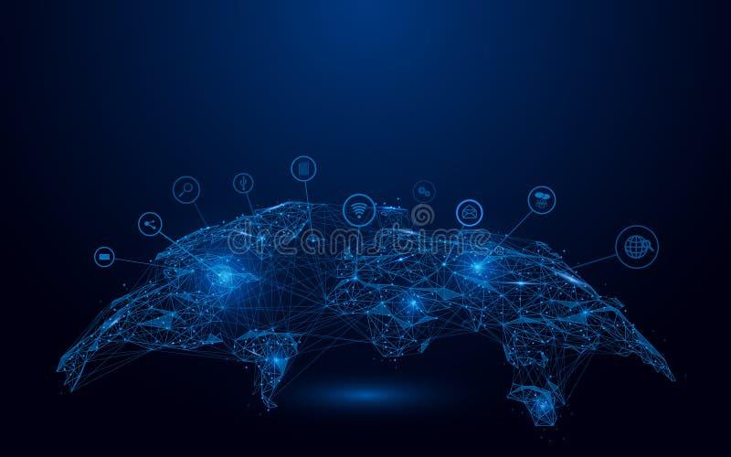 Mappa bassa del globo del poligono con la maglia sociale del wireframe delle icone su fondo blu illustrazione di stock