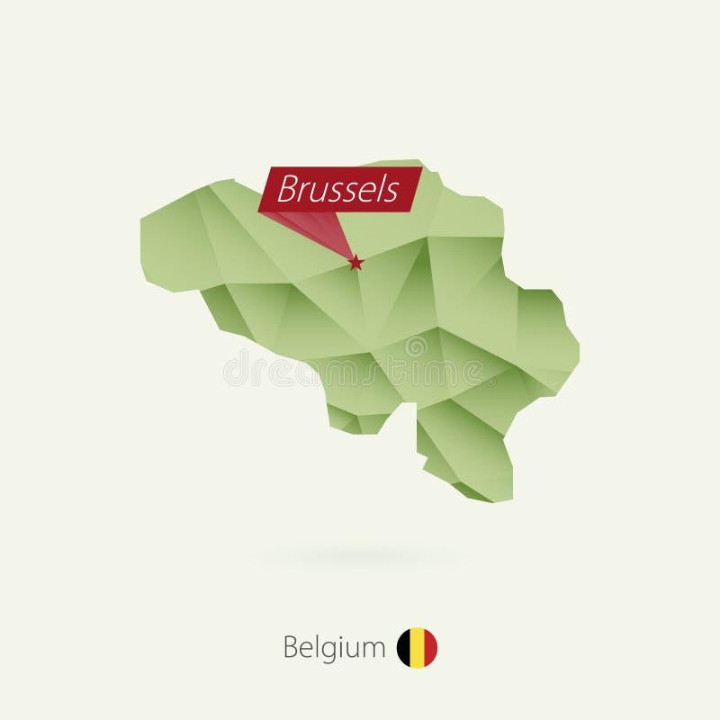 Mappa bassa di pendenza verde poli del Belgio con capitale Bruxelles illustrazione vettoriale