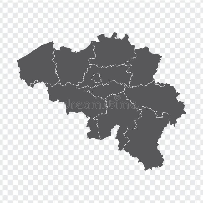 Mappa in bianco Belgio Mappa Belgio di alta qualità con le province su fondo trasparente per la vostra progettazione del sito Web illustrazione vettoriale