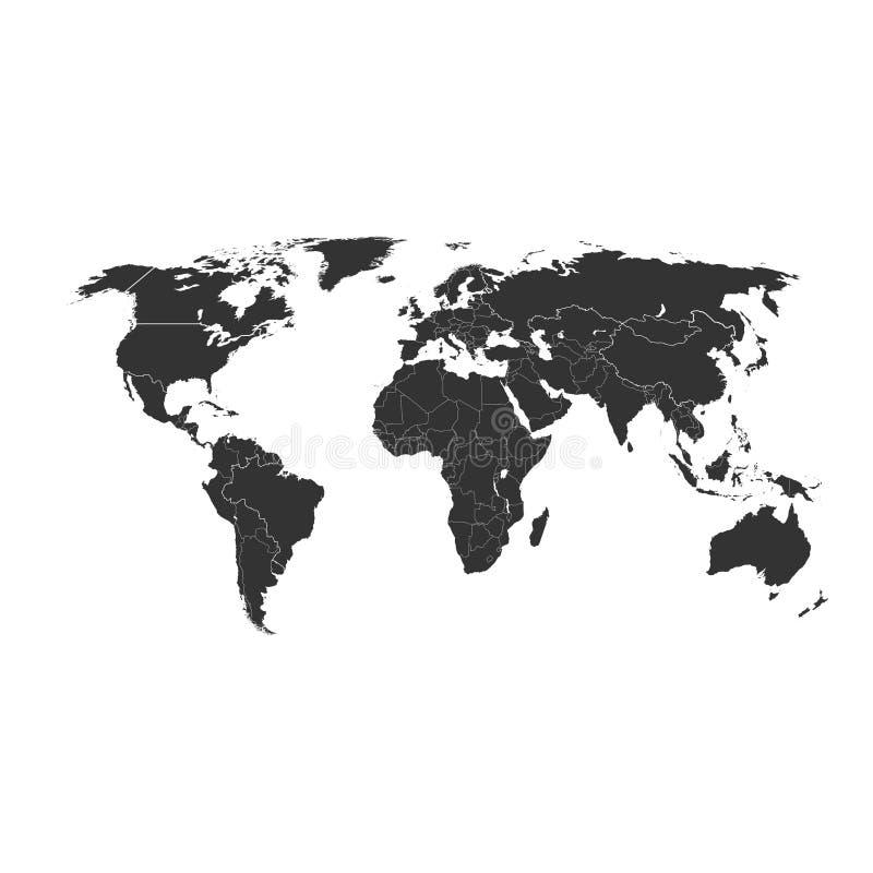 Mappa in bianco di Grey World isolata su fondo bianco Migliore modello popolare per il sito Web, progettazione, copertura del glo illustrazione vettoriale