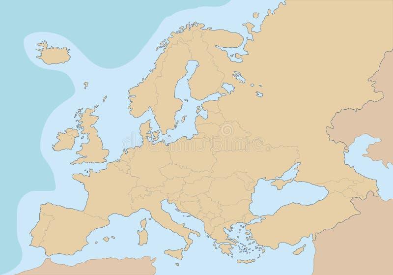 Mappa in bianco politica di Europa illustrazione di stock