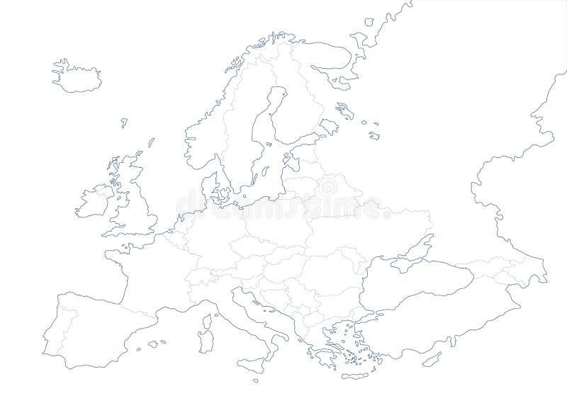 Mappa in bianco politica di Europa nel fondo bianco illustrazione vettoriale