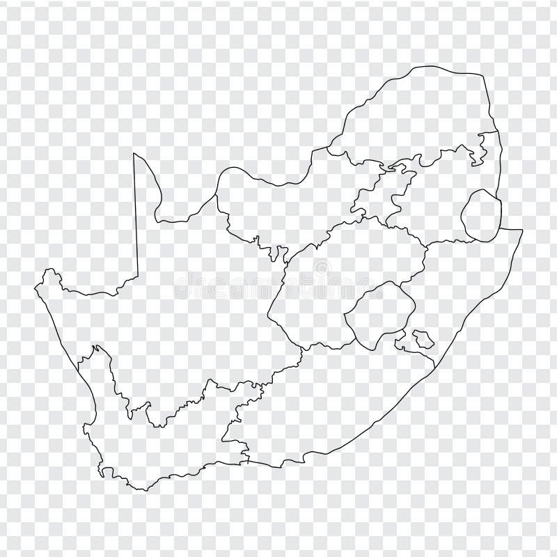 Mappa in bianco Sudafrica Mappa di alta qualità del Sudafrica con le province su fondo trasparente illustrazione di stock