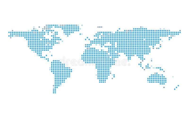 Mappa blu del punto della terra su fondo isolato bianco Concetto della comunicazione globale e di tecnologia Tema di affari e di  illustrazione vettoriale