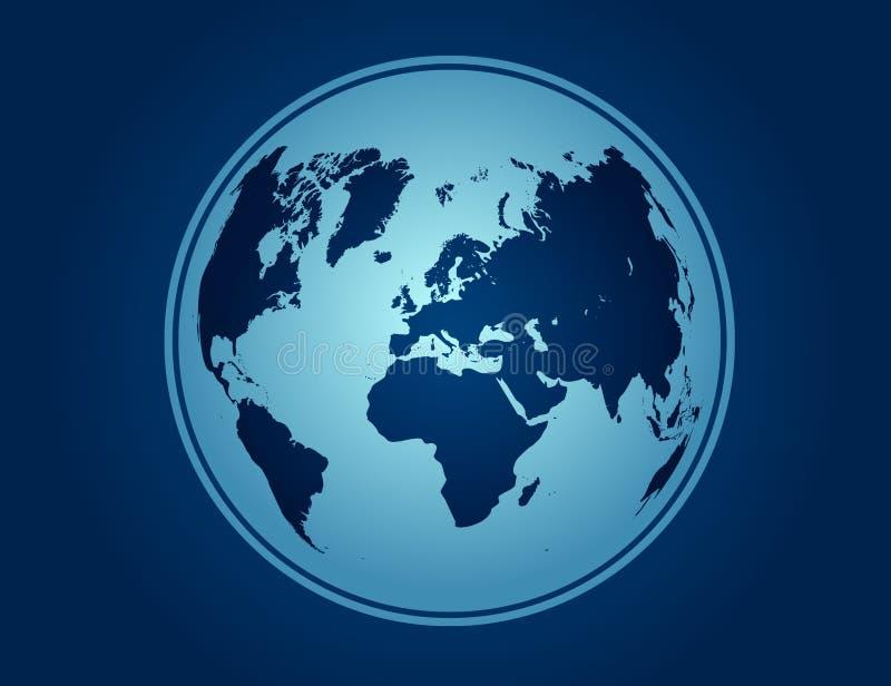 Mappa blu di vettore del globo fotografia stock
