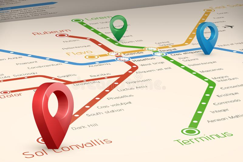 Mappa blured astratta di Relistic degli itinerari del sottopassaggio nella prospettiva vi illustrazione di stock