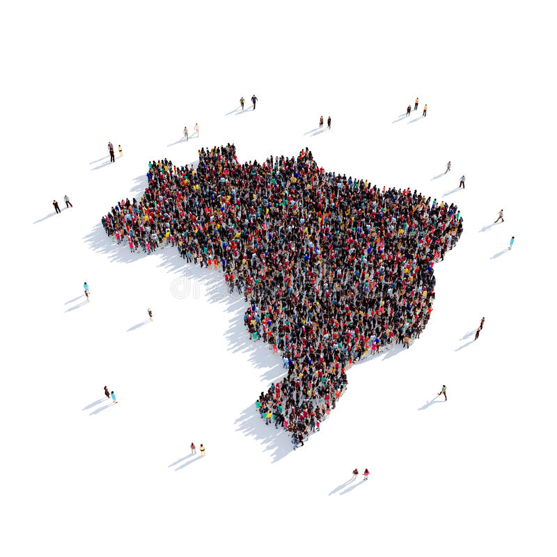Mappa Brasile di forma del gruppo della gente illustrazione vettoriale