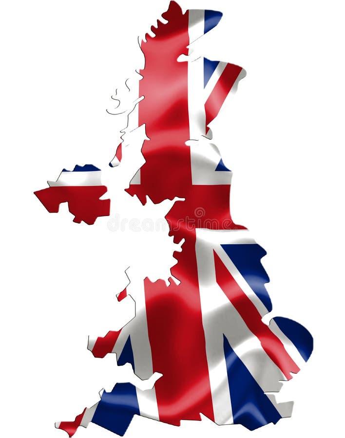 Mappa BRITANNICA con la bandiera d'ondeggiamento illustrazione di stock