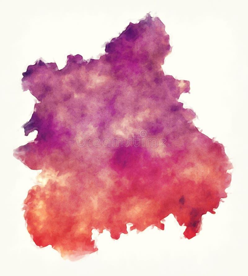 Mappa BRITANNICA dell'acquerello dell'Inghilterra della West Midlands davanti ad una parte posteriore di bianco immagini stock