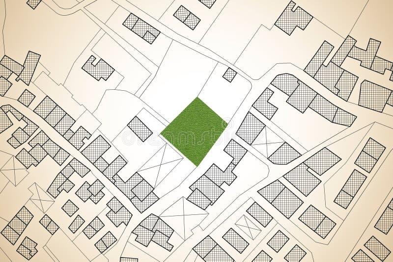 Mappa catastale immaginaria del territorio con un avai verde libero della terra illustrazione vettoriale