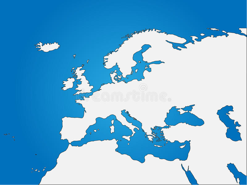 Mappa cieca del Nord Africa & di Europa illustrazione vettoriale