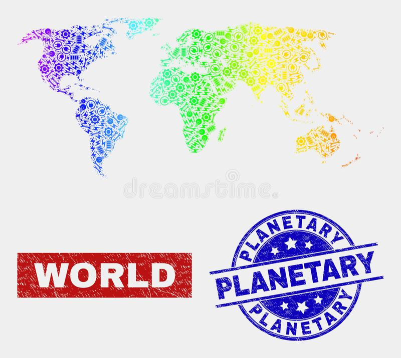 Mappa colorata arcobaleno dei pæsi industrializzati e bolli planetari graffiati royalty illustrazione gratis