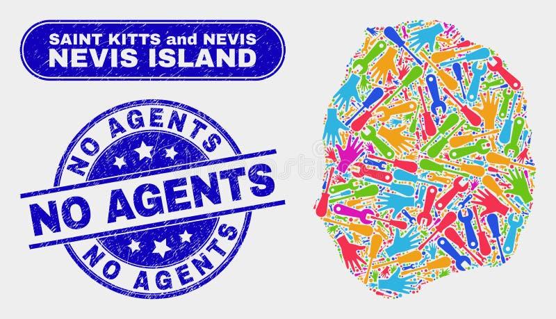 Mappa componente dell'isola del Nevis e graffiato nessun bolli degli agenti illustrazione vettoriale