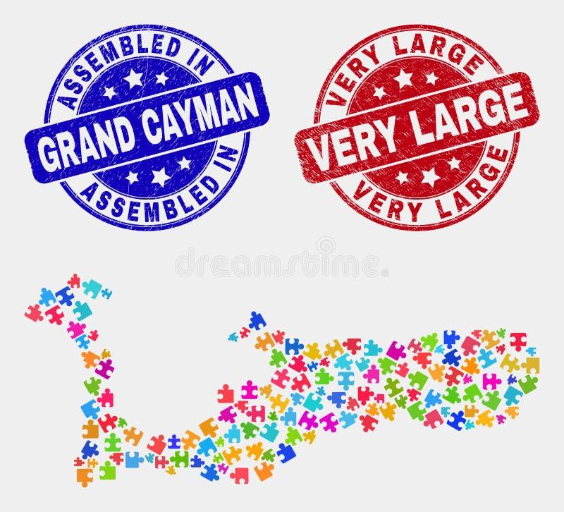 Mappa componente dell'isola di Grand Cayman e graffiato guarnizioni montate e molto grandi illustrazione di stock