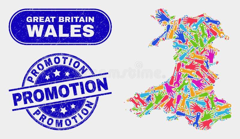 Mappa componente di Galles ed affliggere le guarnizioni del bollo di promozione illustrazione vettoriale