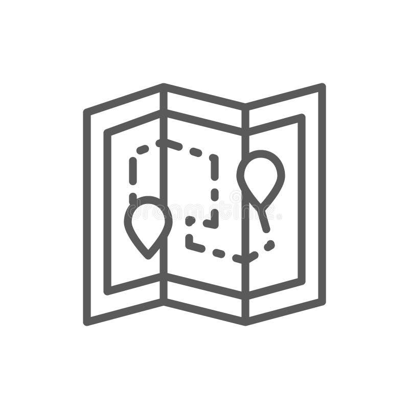 Mappa con il perno di posizione, itinerario del pacchetto di consegna, linea icona di logistica illustrazione vettoriale