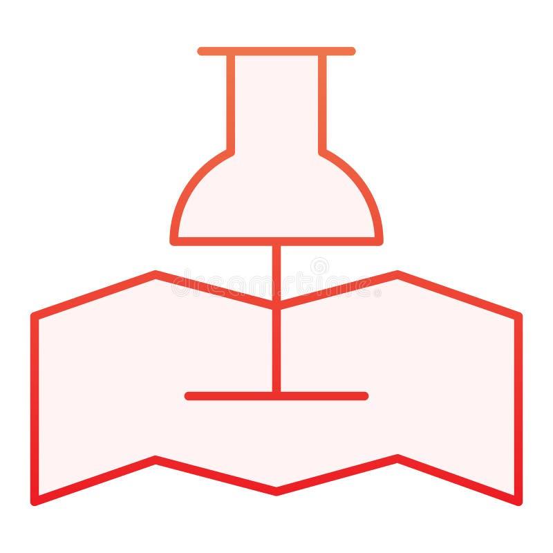Mappa con l'icona piana del perno di spinta Icone rosse del puntatore di posizione nello stile piano d'avanguardia Progettazione  illustrazione di stock
