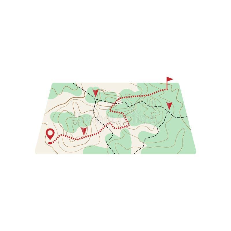 Mappa con la linea punteggiata itinerario da destinazione illustrazione di stock