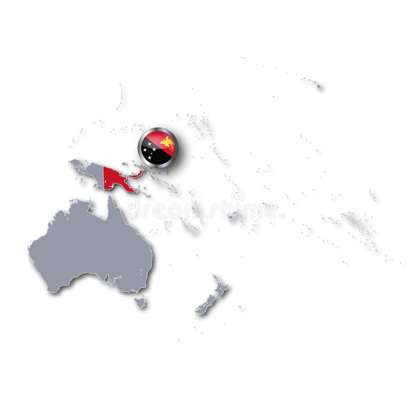 Mappa con la Papuasia Nuova Guinea illustrazione di stock
