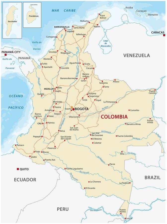Mappa con le strade principali ed i fiumi della Colombia royalty illustrazione gratis