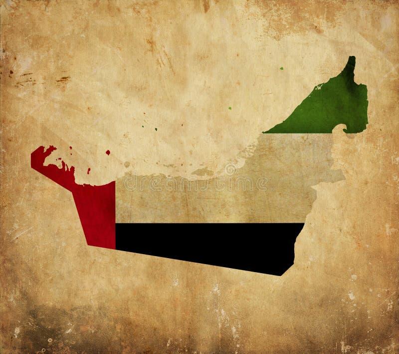 Mappa d'annata degli Emirati Arabi Uniti sulla carta di lerciume immagini stock