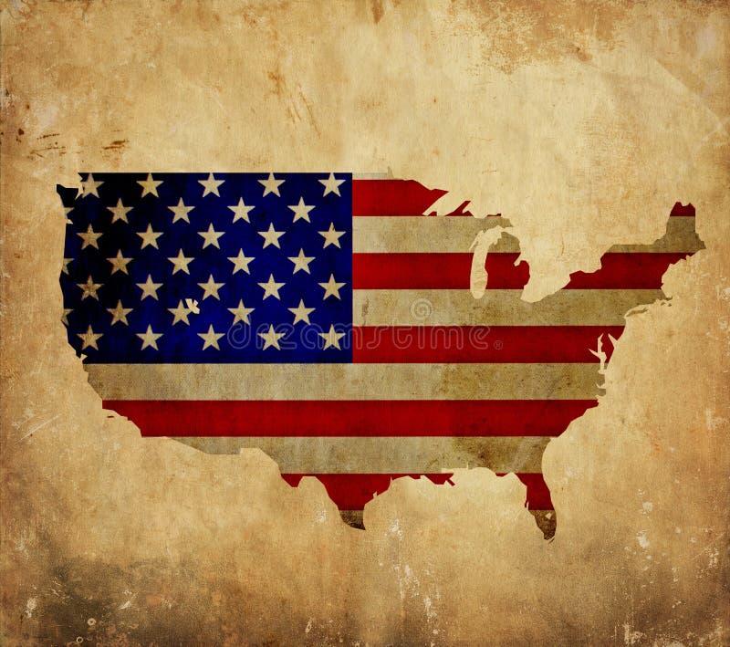 Mappa d'annata degli Stati Uniti d'America sulla carta di lerciume fotografia stock libera da diritti