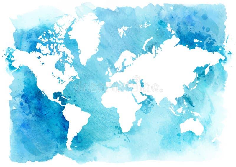 Mappa d'annata del mondo su un fondo blu Illustrazione dell'acquerello royalty illustrazione gratis