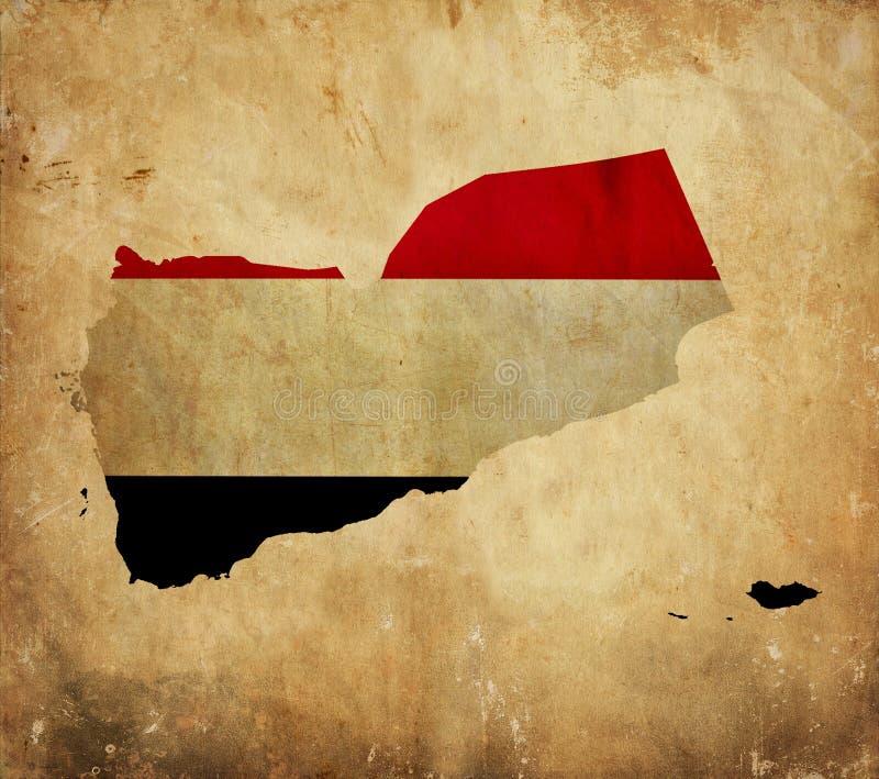 Mappa d'annata dell'Yemen sulla carta di lerciume fotografia stock
