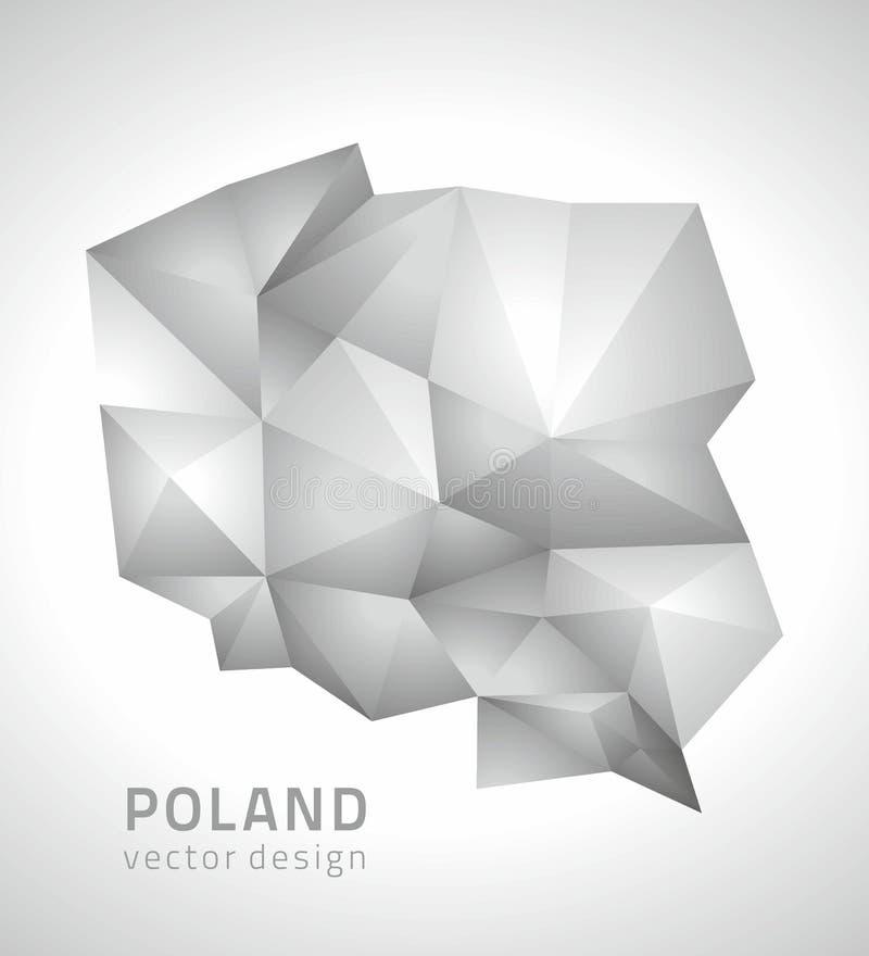 Mappa d'avanguardia di prospettiva grigia del mosaico di vettore della Polonia illustrazione di stock