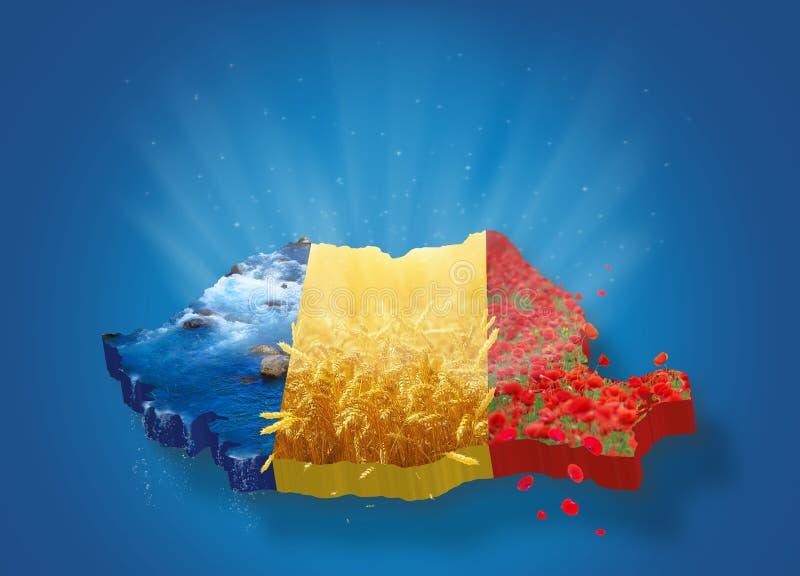 Mappa 3D della Romania illustrazione vettoriale