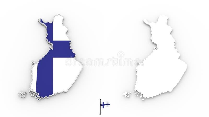 mappa 3D della siluetta e della bandiera bianche della Finlandia illustrazione di stock