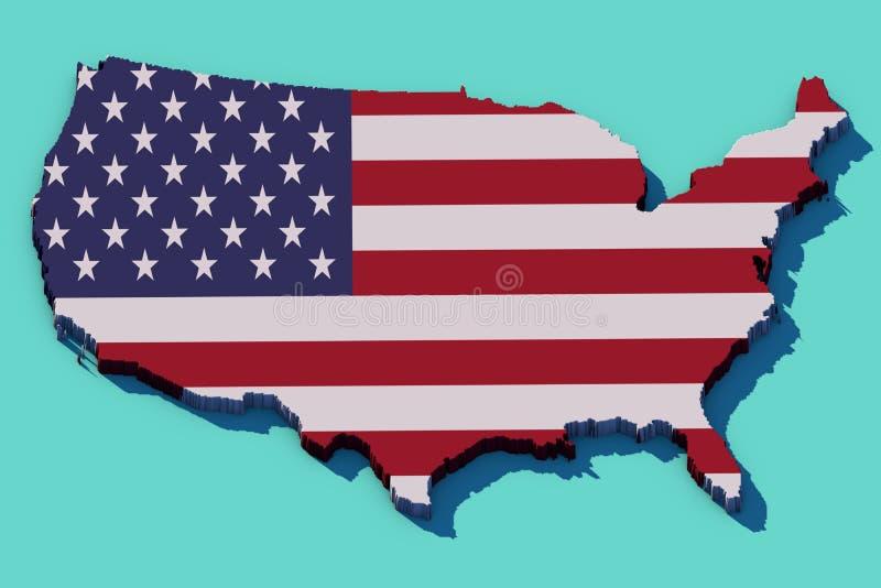 mappa 3d di U.S.A. fotografia stock