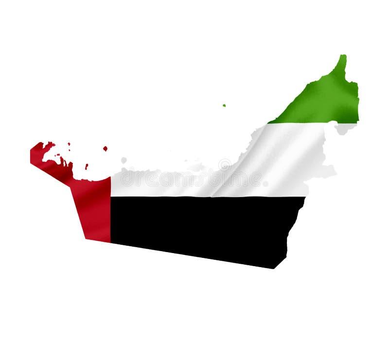 Mappa degli Emirati Arabi Uniti con la bandiera d'ondeggiamento isolata su bianco immagine stock libera da diritti
