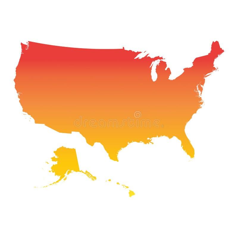 Mappa degli S.U.A., Stati Uniti d'America Illust arancio variopinto di vettore illustrazione di stock
