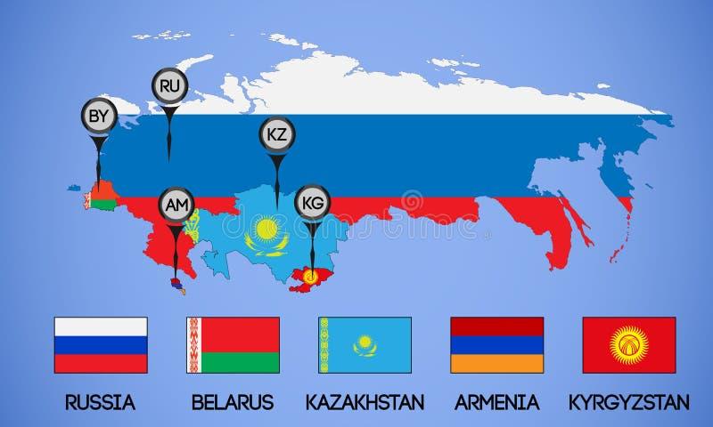 Mappa degli stati membri dell'unione economica euroasiatica Bandiere ed abbreviazioni Russia, Bielorussia, il Kazakistan, Armenia royalty illustrazione gratis