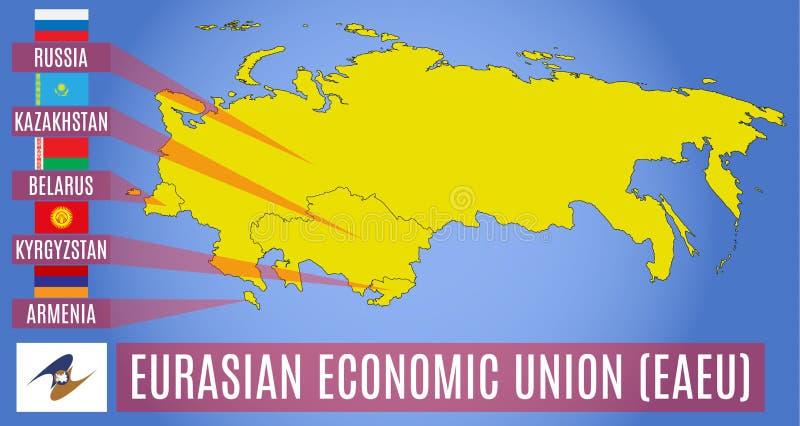 Mappa degli stati membri dell'unione economica euroasiatica EAEU Bandiere di desiderio della Russia, della Bielorussia, del Kazak illustrazione di stock