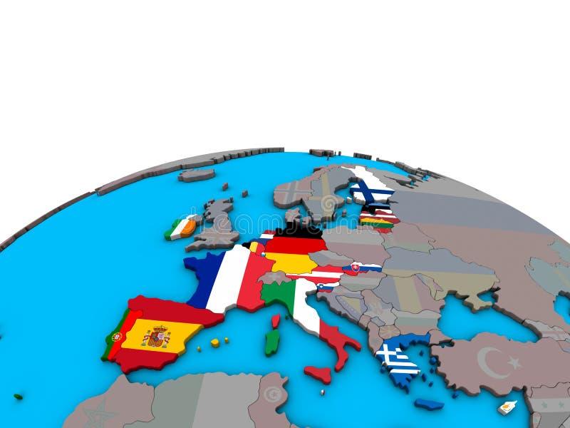 Mappa degli stati membri di zona euro con le bandiere sul globo illustrazione vettoriale