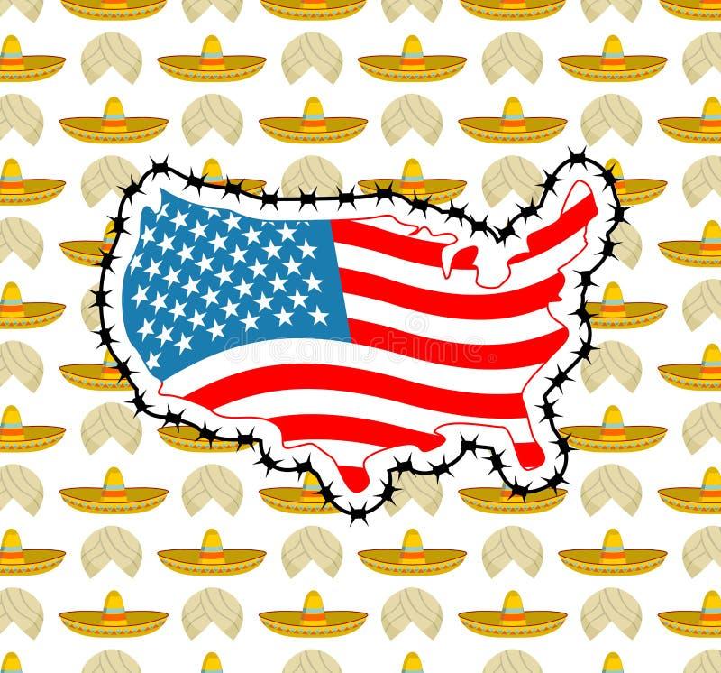 Mappa degli Stati Uniti con filo spinato L'America chiude il confine relativamente a im royalty illustrazione gratis