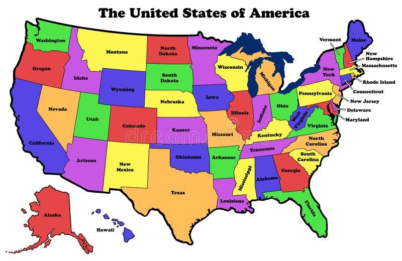 Mappa degli Stati Uniti con i nomi dello stato illustrazione vettoriale
