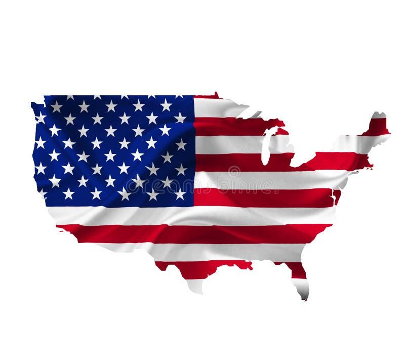 Mappa degli Stati Uniti d'America con la bandiera d'ondeggiamento isolata su bianco immagine stock libera da diritti