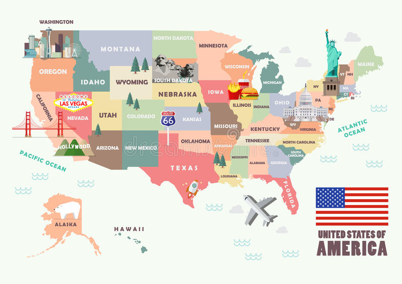 Mappa degli Stati Uniti d'America con le attrazioni famose royalty illustrazione gratis