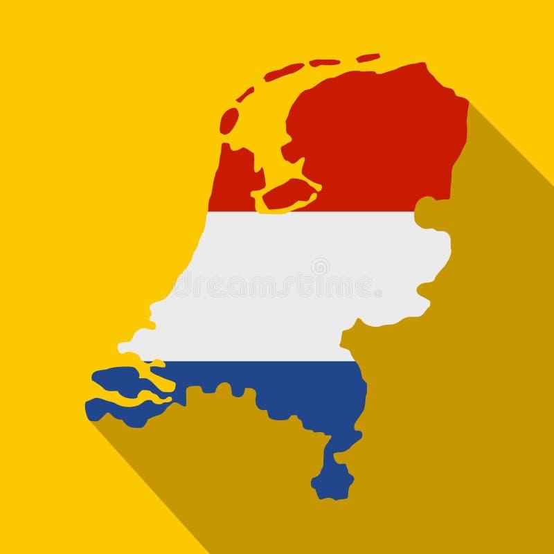 Mappa dei Paesi Bassi con l'icona olandese della bandiera royalty illustrazione gratis