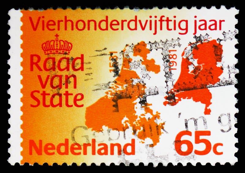 Mappa dei Paesi Bassi, del 1531 e del 1981, 450 anni di serie del Consiglio di Stato, circa 1981 immagine stock libera da diritti