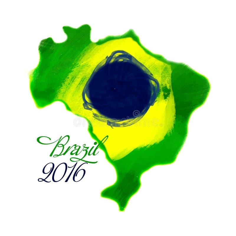 Mappa del Brasile nei colori brasiliani della bandiera royalty illustrazione gratis