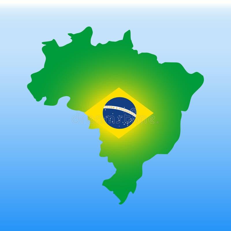Mappa del Brasile nei colori della bandiera nazionale Vettore stilizzato di colore illustrazione di stock