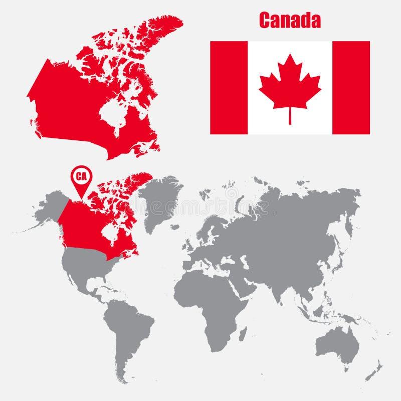 Mappa del Canada su una mappa di mondo con il puntatore della mappa e della bandiera Illustrazione di vettore illustrazione di stock