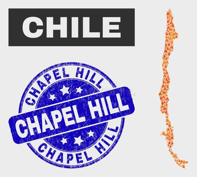 Mappa del Cile del mosaico e filigrana fiammeggiate di Chapel Hill di lerciume illustrazione di stock