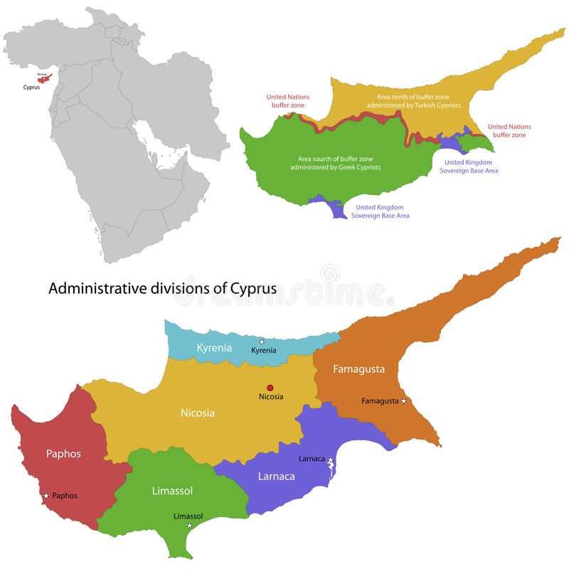 Mappa del Cipro illustrazione di stock